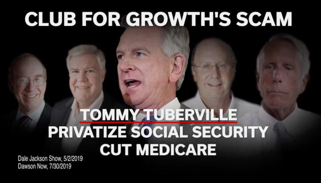 Sen. Doug Jones, D-Ala., charged Republican Tommy Tuberville of weakening Social Security and Medicare. (Screenshot)
