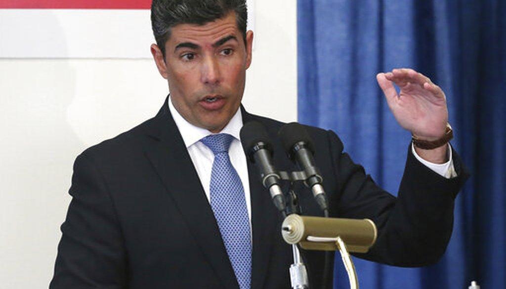 House speaker Jose Oliva, R-Miami Lakes speaks at a pre-legislative news conference, Wednesday, Jan. 30, 2019 in Tallahassee, Fla. (AP)