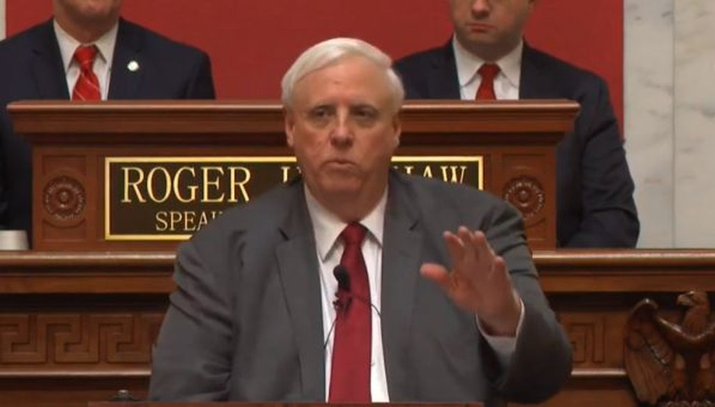 Gov. Jim Justice of West Virginia, a Republican, gives his state of the state address on Jan. 9, 2019.