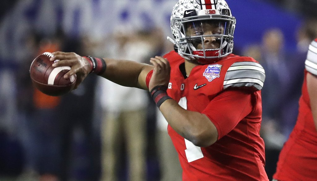 Ohio State quarterback Justin Fields during the Fiesta Bowl against Clemson, on Dec. 28, 2019. After the Big Ten Conference decided to postpone its fall 2020 season because of COVID-19, Fields started an online petition to get the decision reversed. (AP)