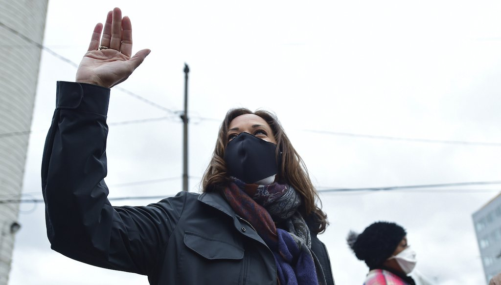 Democratic vice presidential candidate Sen. Kamala Harris, D-Calif. waives to the crowd outside the Cuyahoga County Board of Elections during a campaign event, Saturday, Oct. 24, 2020, in Cleveland. (AP)