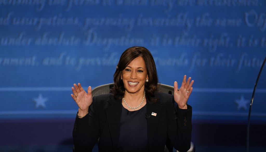 Democratic vice presidential candidate Sen. Kamala Harris, D-Calif., responds during the vice presidential debate with Vice President Mike Pence Wednesday, Oct. 7, 2020, at Kingsbury Hall on the campus of the University of Utah in Salt Lake City. (AP)