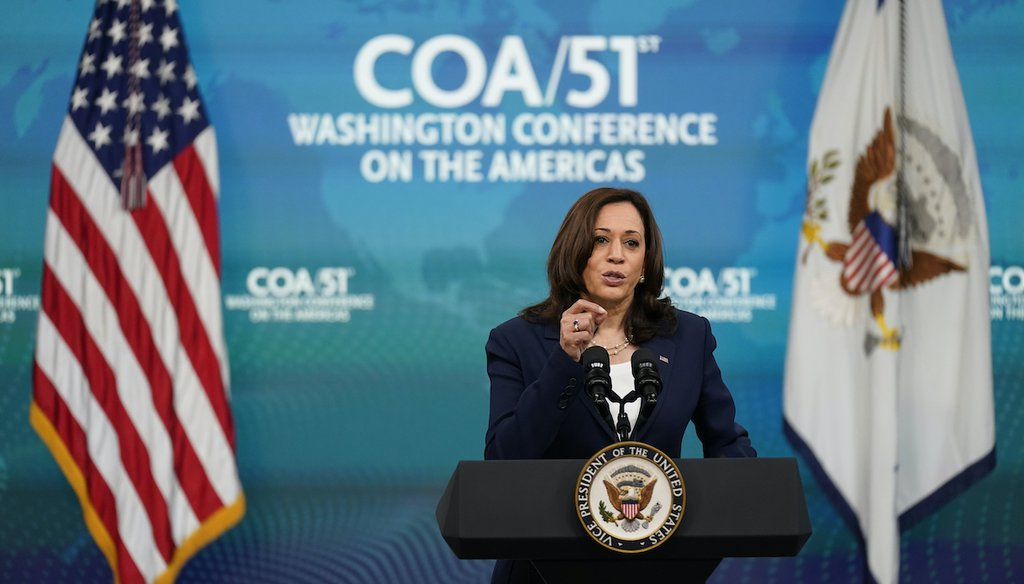 Vice President Kamala Harris delivers remarks to the Washington Conference on the Americas from the South Court Auditorium on the White House campus in Washington, May 4, 2021. (AP)