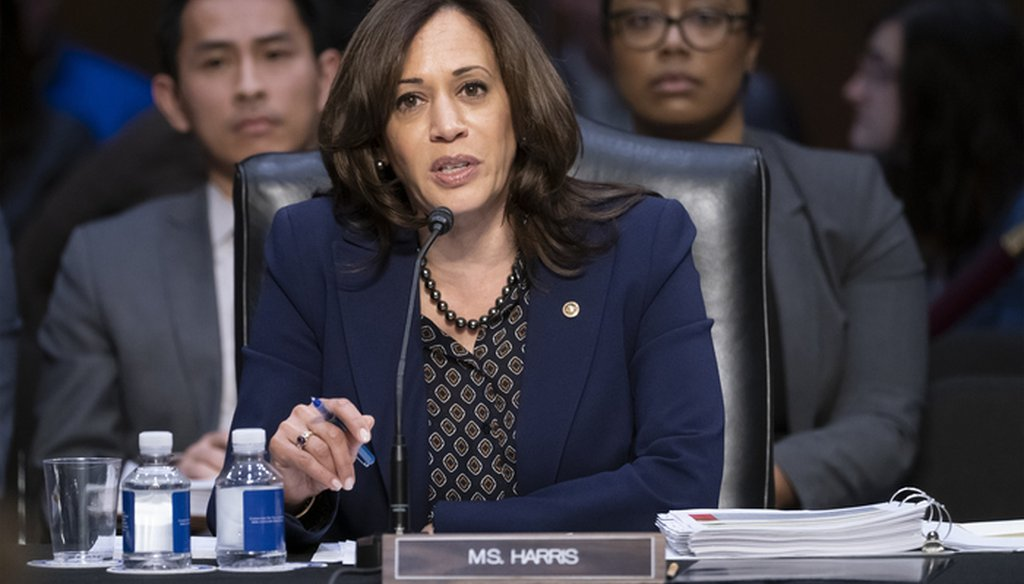 Sen. Kamala Harris, D-Calif., objects to advancing the nomination of Bill Barr to be attorney general, on Capitol Hill in Washington, Thursday, Feb. 7, 2019. (AP Photo/J. Scott Applewhite)