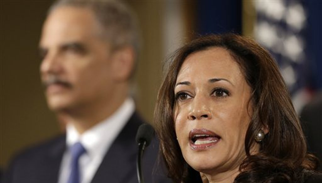 California Attorney General Kamala Harris speaks at the Justice Department in Washington, D.C., in 2013. (AP Photo/Jacquelyn Martin)