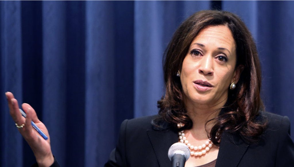 California's Attorney General Kamala Harris talks during a news conference in Los Angeles on Wednesday, Oct. 14, 2015. Richard Vogel / AP