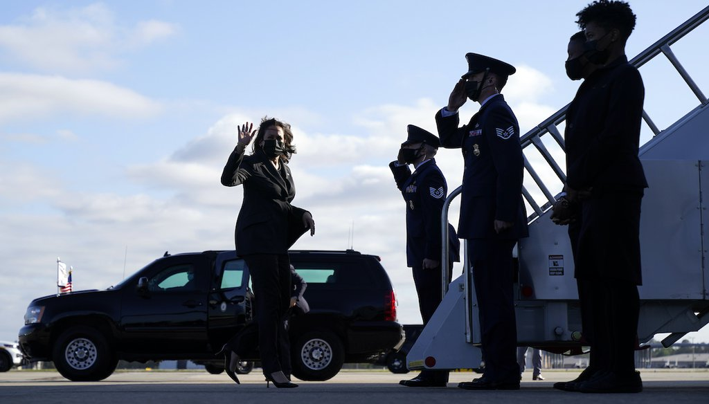 Vice President Kamala Harris boards Air Force Two as she departs Jacksonville, Fla., on March 22, 2021. (AP)