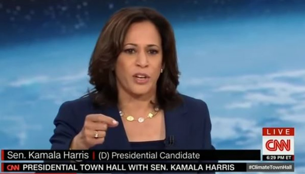 Democratic presidential candidate and California Sen. Kamala Harris speaks at the CNN climate town hall on Sept. 4, 2019.