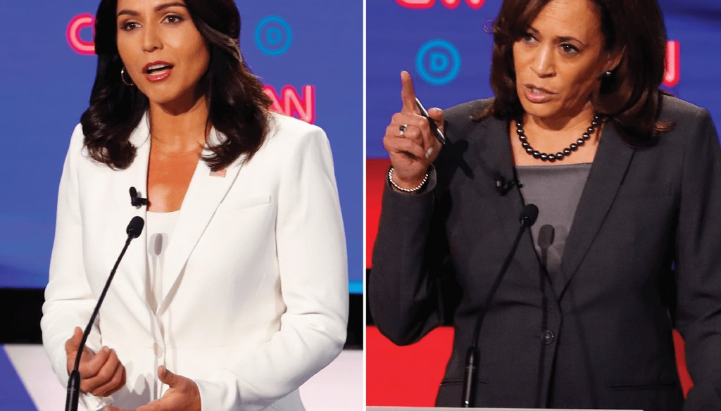 Rep. Tulsi Gabbard of Hawaii attacked California Sen. Kamala Harris' record as a prosecutor at the Democratic presidential debate in Detroit / Associated Press