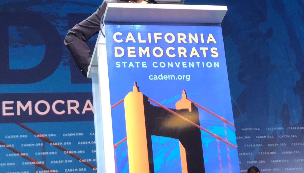 California Sen. Kamala Harris speaks at the California Democratic Party Convention in San Francisco on June 1, 2019 / Photo by Capital Public Radio