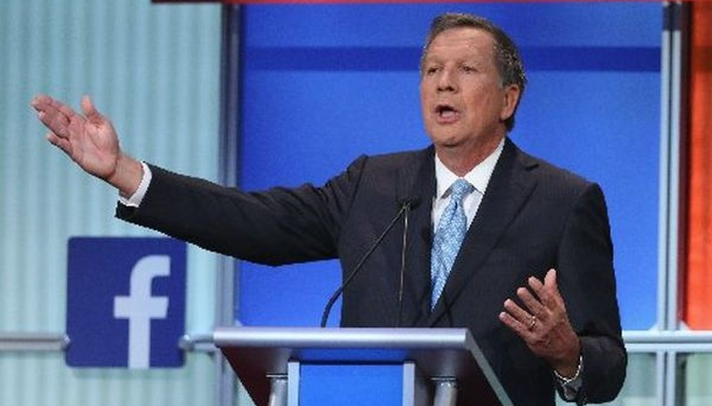 Ohio Gov. John Kasich fields a question during the first Republican presidential debate on Aug. 6, 2015. (Scott Olson/Getty Images)