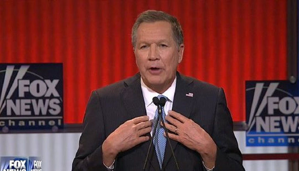 Ohio Gov. John Kasich was one of four candidates taking part in a presidential debate in Detroit.
