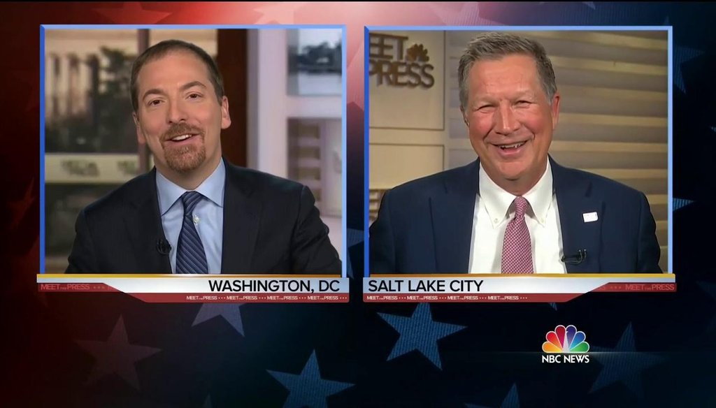 """Ohio Gov. John Kasich and NBC """"Meet the Press"""" moderator Chuck Todd discuss Donald Trump and the 2016 Republican convention in the March 20, 2016, show. (Photo by NBC News)"""