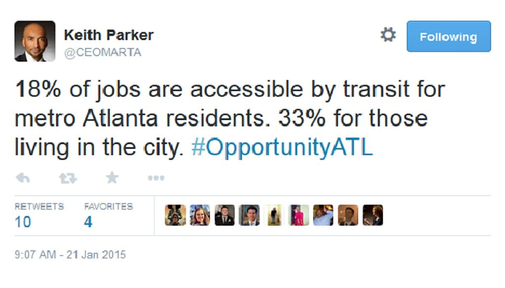 MARTA General Manager Keith Parker was live Tweeting a forum when he posted this statistic