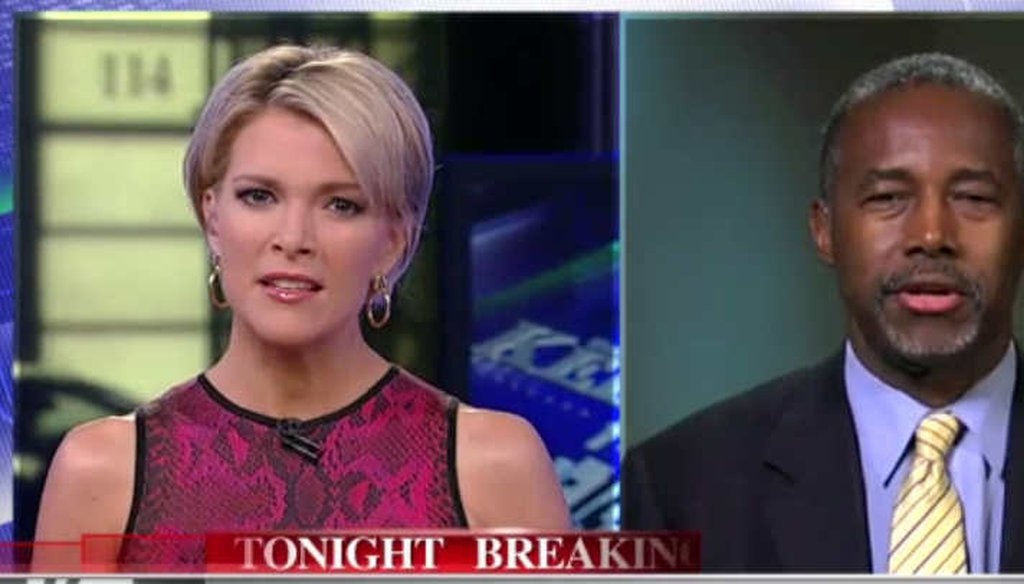 Fox News host Megyn Kelly talked about campus unrest with Republican presidential candidate Ben Carson. (Screengrab)