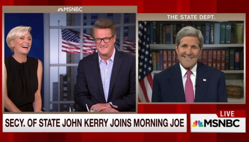 "Secretary of State John Kerry appeared on MSNBC's ""Morning Joe"" on Sept. 2, 2015."