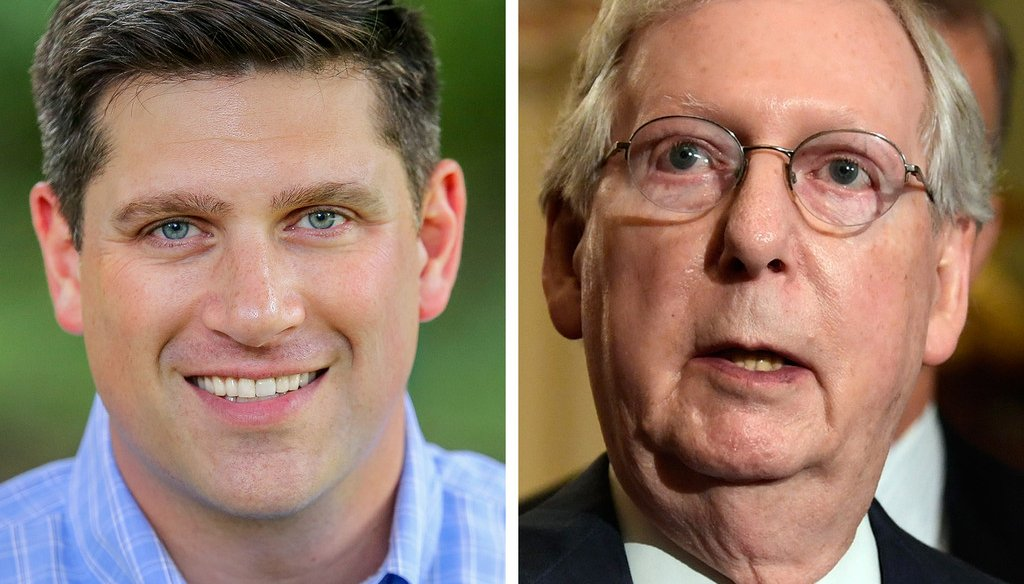 GOP U.S. Senate candidate Kevin Nicholson (left) has been for and against keeping Kentucky Republican Mitch McConnell as Senate majority leader.