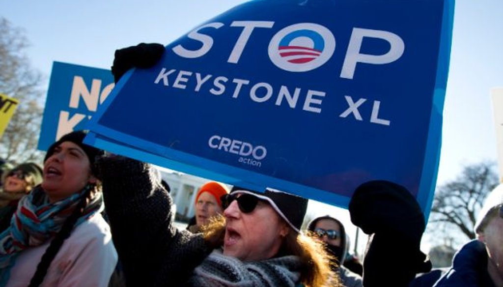Sen. Joni Ernst, R-Iowa, said anti-Keystone XL pipeline protesters like these are in the minority. She's basically right.
