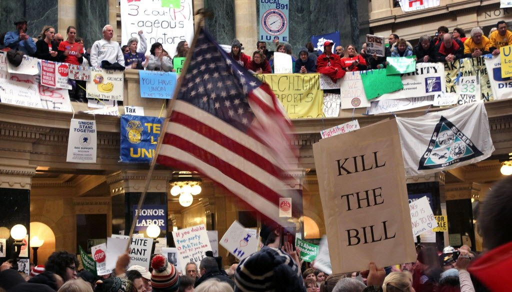 Protestors demonstrated inside the Wisconsin Capitol on Feb. 26, 2011, in a failed effort to stop a bill that sharply curtailed collective bargaining powers of many state and local public employees.