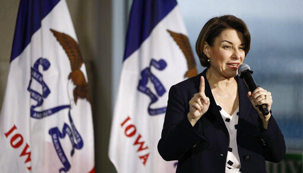 Democratic presidential candidate Sen. Amy Klobuchar speaks at a campaign event in Ottumwa, Iowa. (AP Photo/Patrick Semansky)