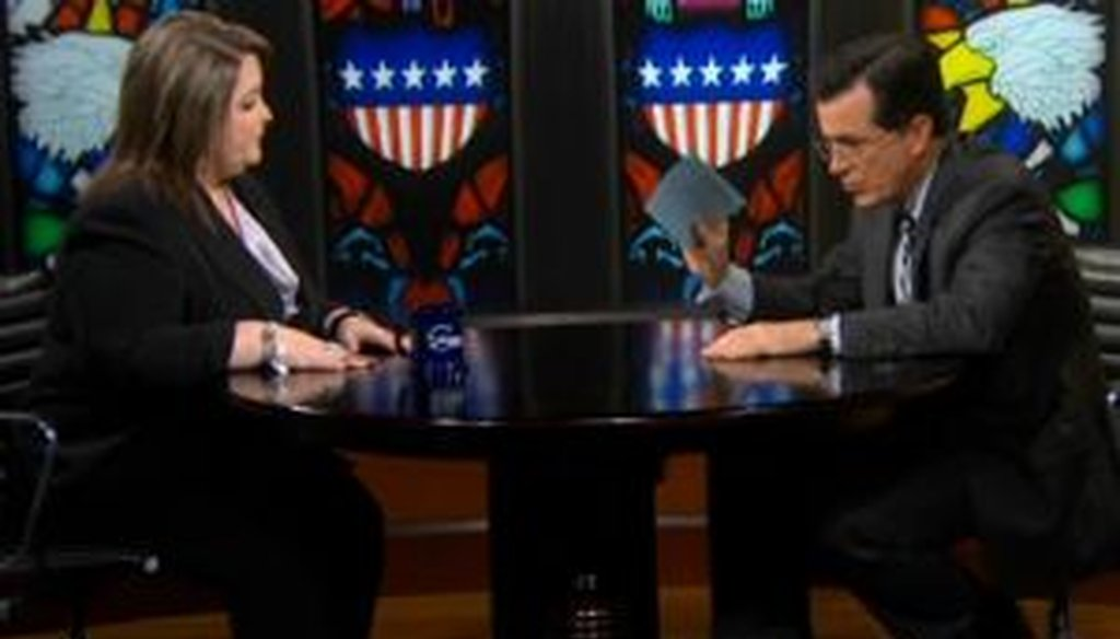 Tea party activist Amy Kremer appeared on Stephen Colbert's show on May 17, 2011, and argued that current tax revenues could fund interest on the debt, Medicare, Medicaid and Social Security. We checked her math.