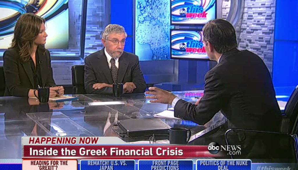 Economist and liberal columnist Paul Krugman assesses the impact of the Greek debt-crisis. (screenshot)