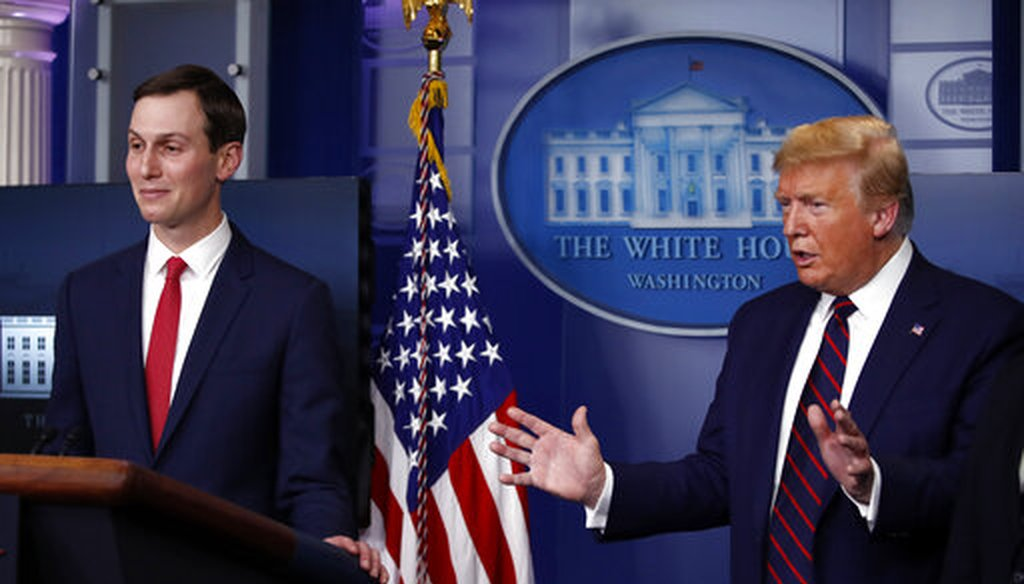 President Donald Trump speaks about the coronavirus in the James Brady Press Briefing Room of the White House, Thursday, April 2, 2020, in Washington, as White House adviser Jared Kushner listens. (AP)