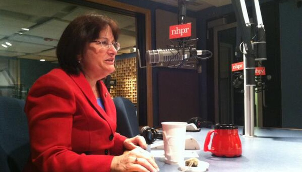 Ann McLane Kuster appeared on The Exchange on New Hampshire Public Radio on Feb. 20, 2014. Photo by NHPR via Twitter.
