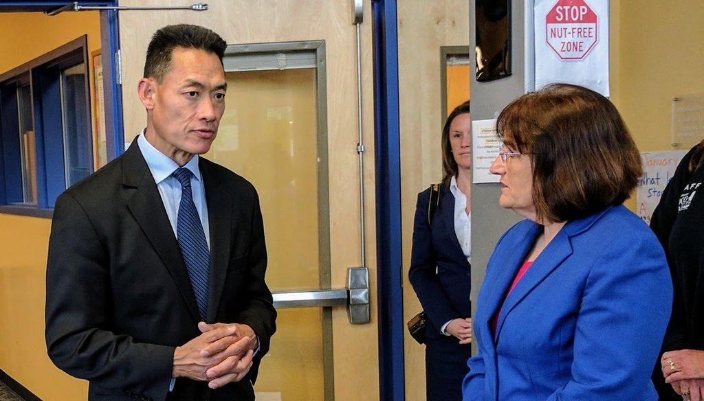U.S. Rep. Annie Kuster speaks with Chris Emond, CEO of the Concord Boys and Girls Club.