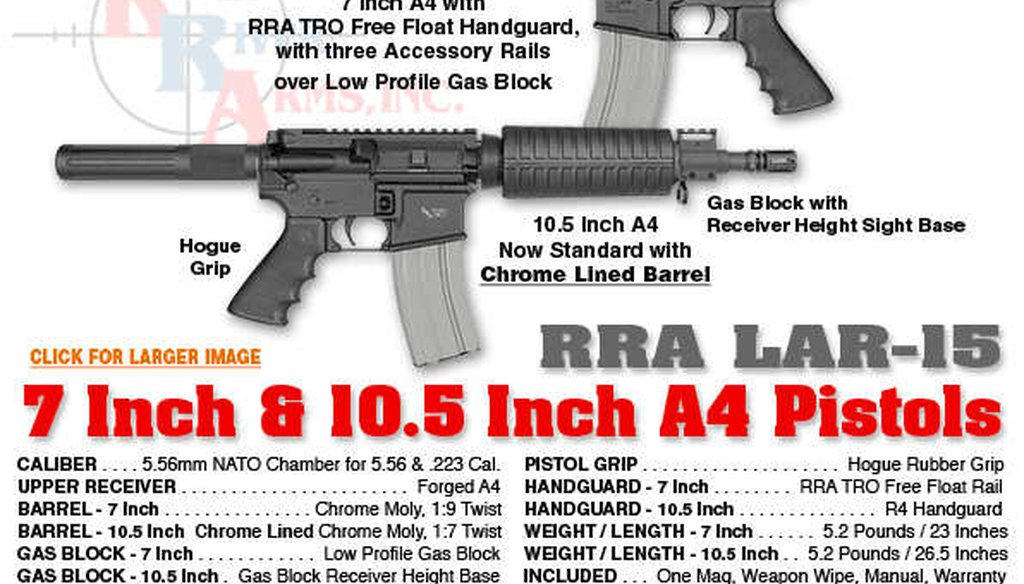 Pistols like the LAR-15 led to a proposed ban on so-called green-tip bullets, drawing opposition from gun owners.