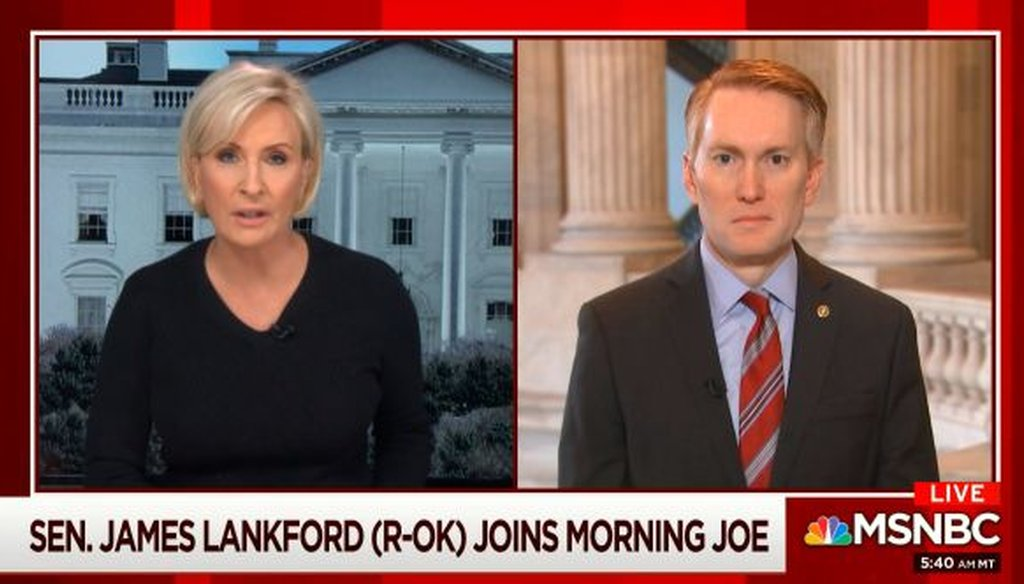 "Sen. James Lankford, R-Okla., appeared on MSNBC's ""Morning Joe"" on March 6, 2019."