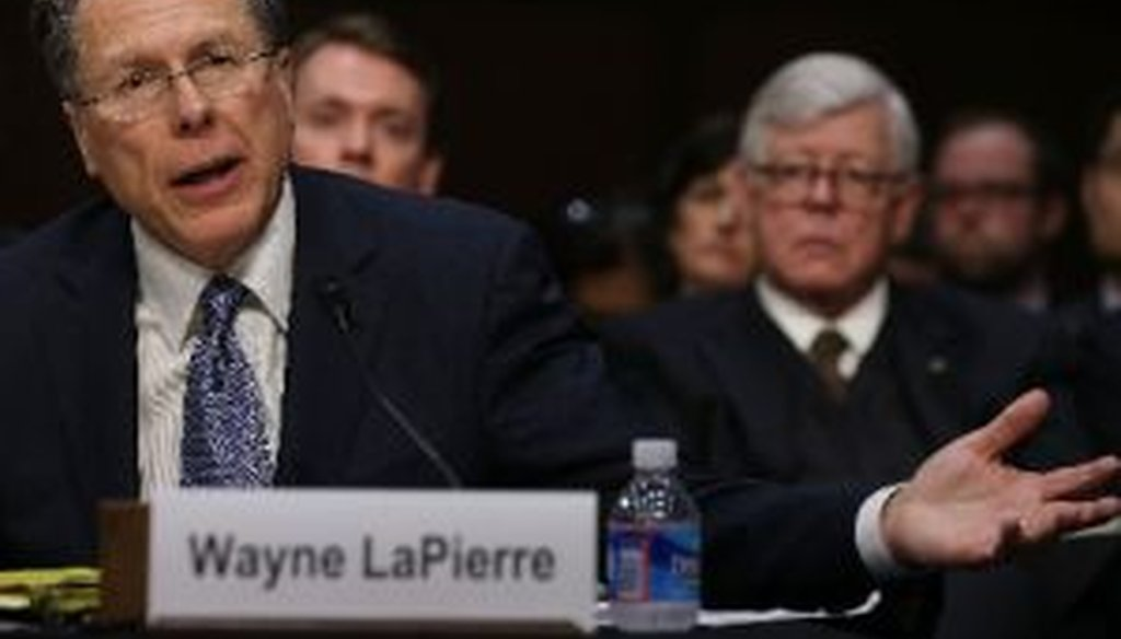 National Rifle Association executive director Wayne LaPierre (left, shown with NRA president David Keene at right) testified at a Senate Judiciary Committee hearing on Jan. 30, 2013.