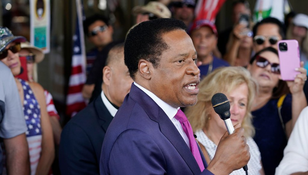 California GOP recall candidate and conservative radio talk show host Larry Elder speaks to supporters during a campaign stop in Norwalk, Calif. (AP Photo/Marcio Jose Sanchez, File)