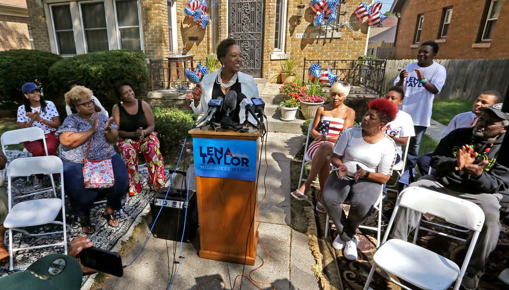 With supporters and friends at her side, State Sen. Lena Taylor announces her candidacy for Milwaukee Mayor from her home Tuesday, September 3, 2019 (Milwaukee Journal Sentinel photo)