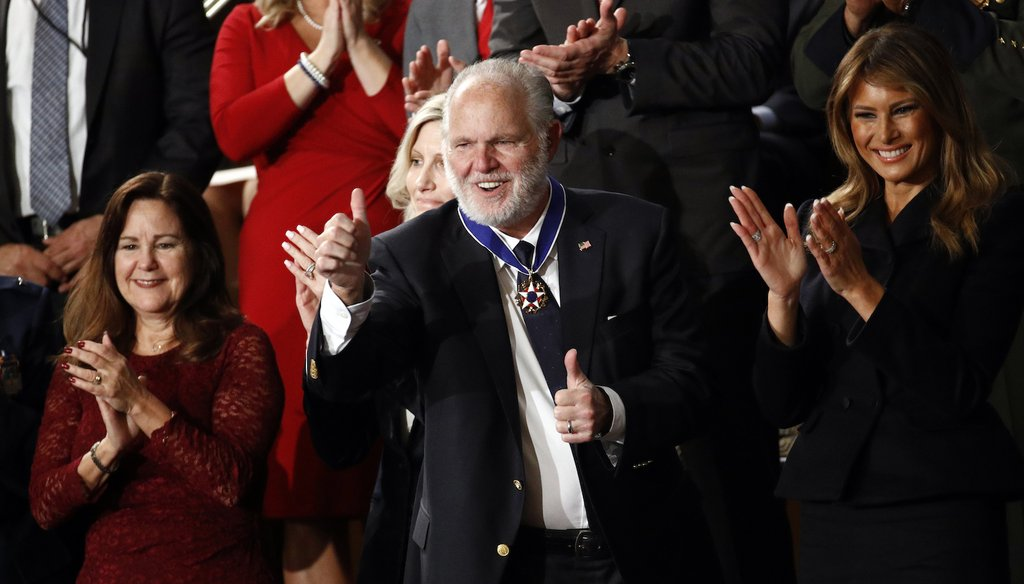 Rush Limbaugh reacts after first Lady Melania Trump presented him with the the Presidential Medal of Freedom as President Donald Trump delivers his State of the Union address (AP)