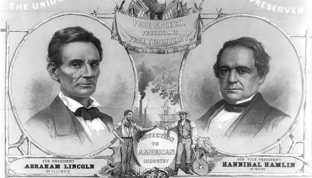 A campaign poster for Abraham Lincoln and Hannibal Hamlin in 1860.