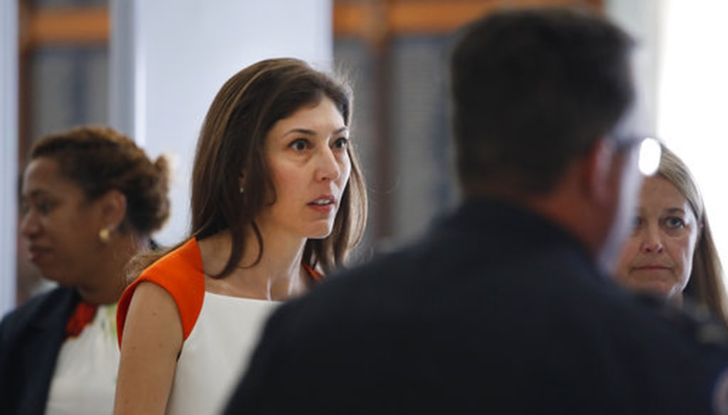 Former FBI lawyer Lisa Page, left, arrives for a closed doors interview with the House Judiciary and House Oversight committees, Monday, July 16, 2018, on Capitol Hill in Washington. (AP)