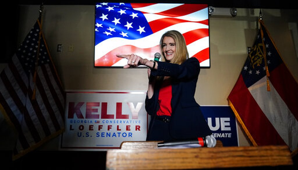Republican candidate for U.S. Senate Sen. Kelly Loeffler speaks at a campaign rally on Friday, Nov. 13, 2020, in Cumming, Ga. Loeffler and Democratic candidate Raphael Warnock are in a runoff election for the Senate seat in Georgia. (AP)