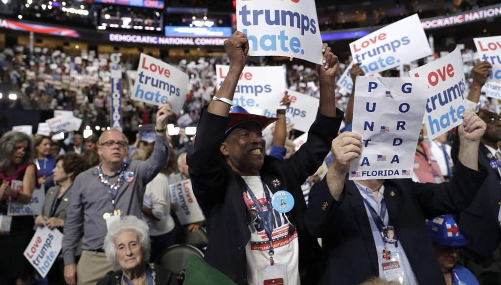 Florida delegates cheer during the first day of the Democratic National Convention in Philadelphia. (AP)