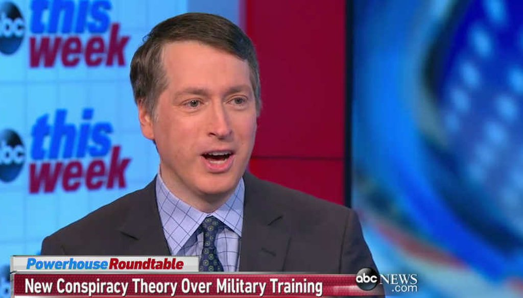 """National Review editor Rich Lowry talked about conspiracy theories on ABC's """"This Week."""""""