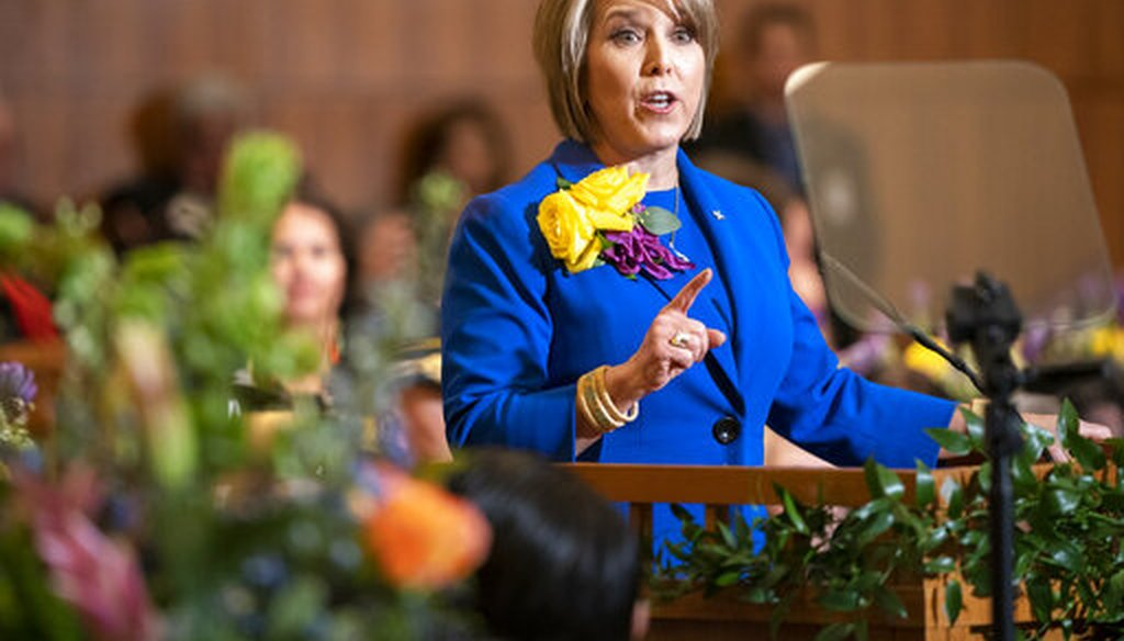 New Mexico Gov. Michelle Lujan Grisham gives her State of the State address during the opening of the New Mexico legislative session in the House chambers at the state Capitol in Santa Fe, N.M. on Tuesday, Jan. 21, 2020. (AP)