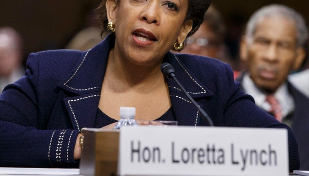 Attorney General nominee Loretta Lynch testifies on Jan. 28, 2015.