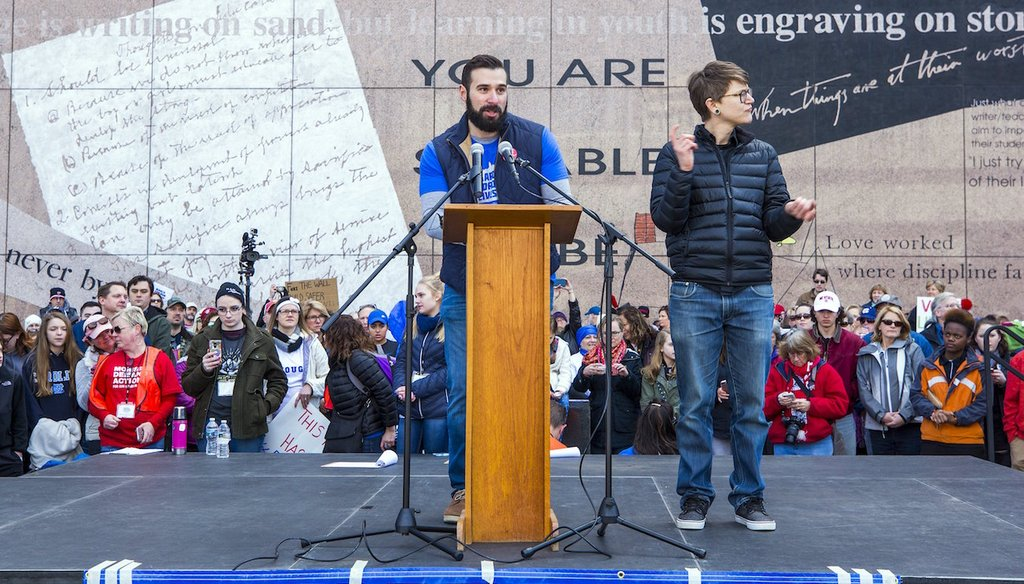 Aaron Wolff, a survivor of the 2007 mass shooting at Virginia Tech, speaks during the March For Our Lives rally in Raleigh on Mar. 24, 2018.