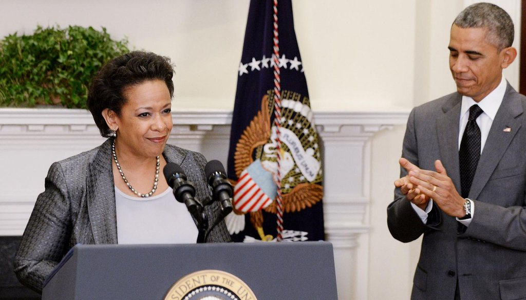 President Barack Obama nominates Loretta Lynch, the U.S. attorney in Brooklyn, to succeed Eric Holder as attorney general during an event in the Roosevelt Room on Nov. 8, 2014, in Washington. (MCT)