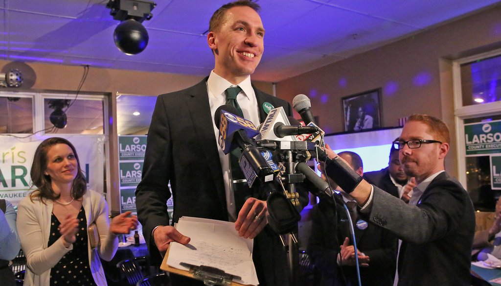 Sen. Chris Larson concedes defeat in his race against County Executive Chris Abele on Election Night, April 5, 2016.