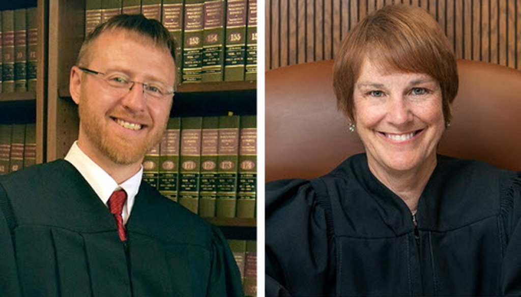 Brian Hagedorn (left) and Lisa Neubauer faced off April 2, 2019 for a seat on the Wisconsin Supreme Court. (Handout photo).