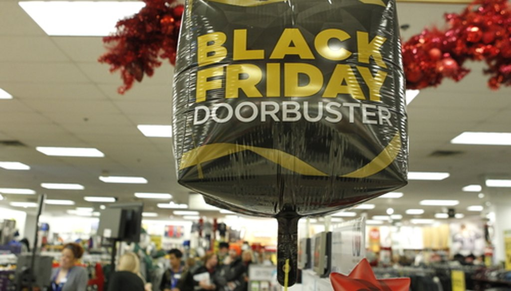 A Black Friday Doorbuster sales sign on display Nov. 25, 2016 inside the Menomonee Falls Kohl's department store. (Milwaukee Journal Sentinel)