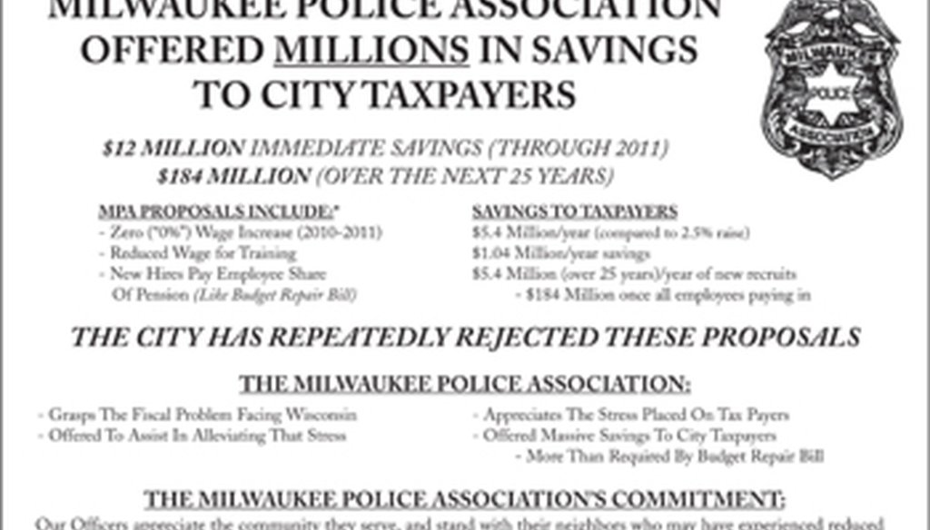 This is the newspaper ad run by the Milwaukee Police Association about contract talks with the city