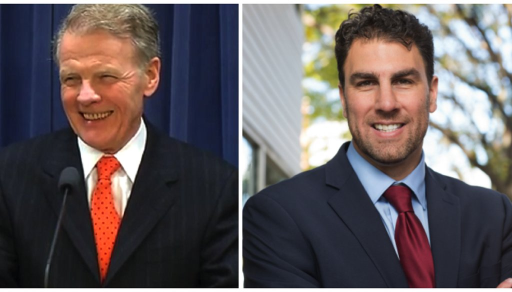 Illinois House Speaker Michael Madigan, left, and 2016 Democratic primary challenger Jason Gonzales