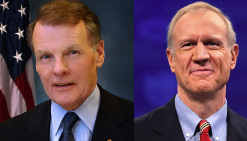 House Speaker Michael Madigan, left, Gov. Bruce Rauner, right